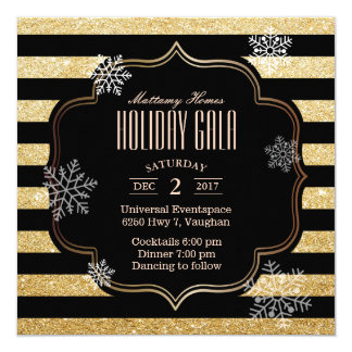 Holiday Gala Black & Gold Stripes Snowflakes Card