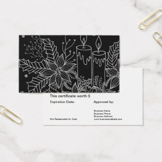 Holiday Gift Card Certificate Simple Black White