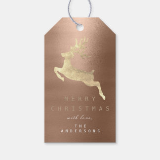 Holiday Gift Tag Coffee Bronze Golden Reindeer
