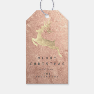 Holiday Gift Tag Copper Rose Gold Reindeer