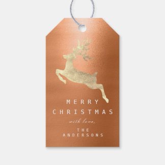 Holiday Gift Tag Coral Orange Metal Gold Reindeer