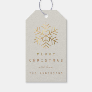 Holiday Gift Tag Creamy Gray Golden Snowflakes