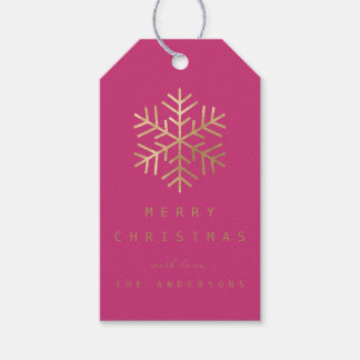 Holiday Gift Tag Fuchsia Pink Golden Snowflakes