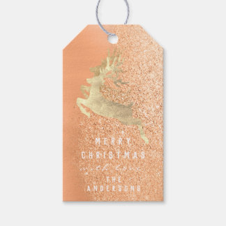 Holiday Gift Tag Glitter Coral Gold Reindeers