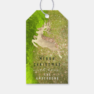 Holiday Gift Tag Glitter Green Metal Gold Reindeer