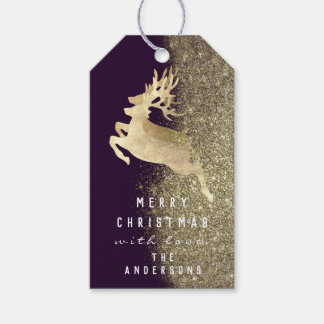 Holiday Gift Tag Glitter Metallic Gold Reindeer