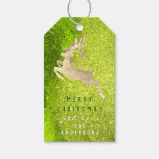 Holiday Gift Tag Glitter Mint Metal Gold Reindeer