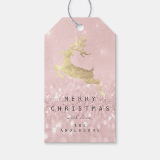 Holiday Gift Tag Gray Glitter Pink Gold Reindeer