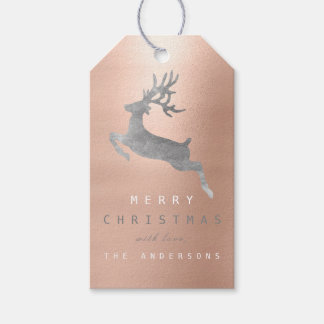 Holiday Gift Tag Gray Pink Rose Gold Reindeer