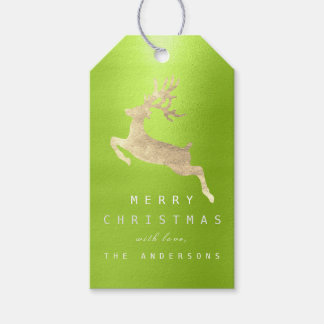Holiday Gift Tag Greenery Peas Gold Reindeer