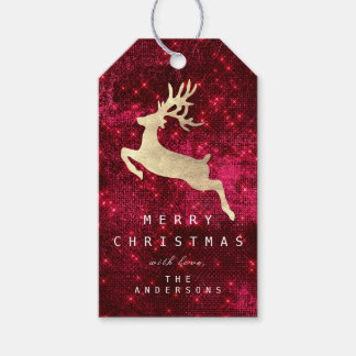 Holiday Gift Tag Merry To Gold Reindeer Burgundy