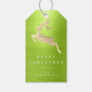 Holiday Gift Tag Merry To Gold Reindeer Greenery
