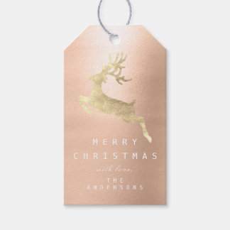 Holiday Gift Tag Merry To Gold Reindeer Rose Gold