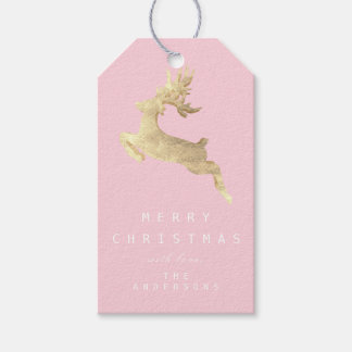 Holiday Gift Tag Merry To Pink Gold Reindeer White