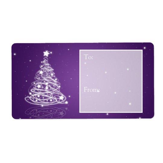 Holiday Gift Tag Modern Christmas Tree Purple