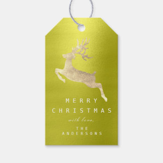Holiday Gift Tag Peas Olive Golden Reindeer