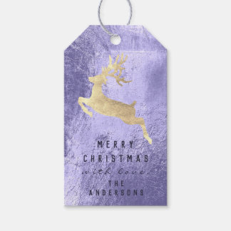 Holiday Gift Tag Purple Blue Metal Gold Reindeer