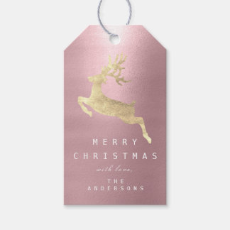 Holiday Gift Tag Purple Mauve Golden Reindeer
