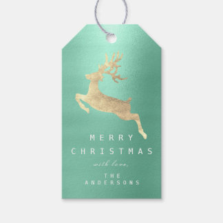 Holiday Gift Tag Tiffany Aqua Blue Golden Reindeer