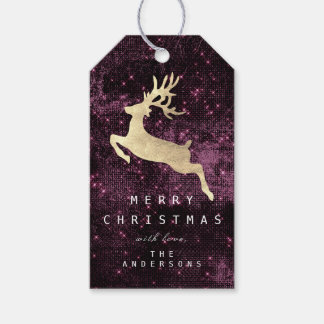 Holiday Gift Tag To Gold Reindeer Burgundy Sparkly