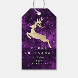 Holiday Gift Tag To Gold Reindeer Purple Sparkly
