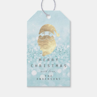 Holiday Gift Tag To Golden Snowman Glitter Blue