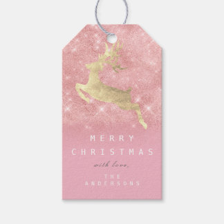 Holiday Gift Tag To Pink Gold Reindeer Glitter