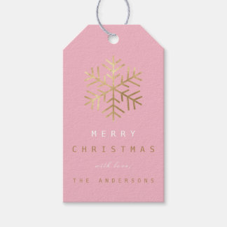 Holiday Gift Tag To .Pink Rose Golden Snowflakes