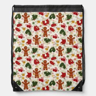 Holiday Gingerbread Pattern Drawstring Bag