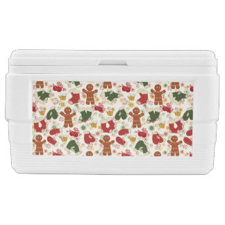 Holiday Gingerbread Pattern Ice Chest