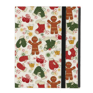Holiday Gingerbread Pattern iPad Folio Case
