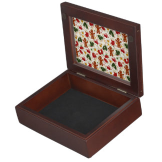 Holiday Gingerbread Pattern Keepsake Box