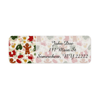 Holiday Gingerbread Pattern Return Address Label