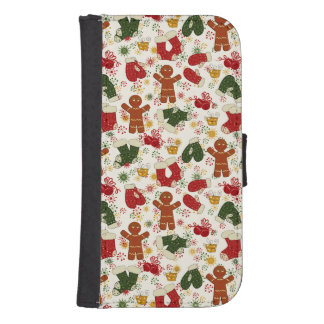 Holiday Gingerbread Pattern Samsung S4 Wallet Case