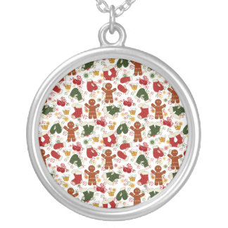 Holiday Gingerbread Pattern Silver Plated Necklace