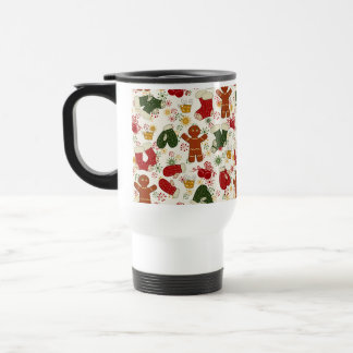 Holiday Gingerbread Pattern Travel Mug