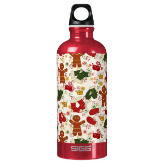 Holiday Gingerbread Pattern Water Bottle