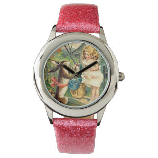 Holiday Girl & Vintage Easter Bunny Watch