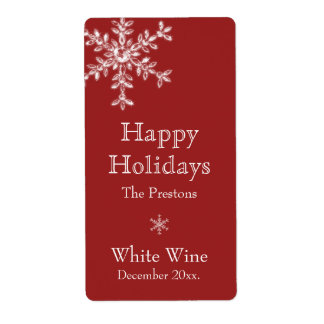 Holiday Glamour Wine Label (red) Shipping Label
