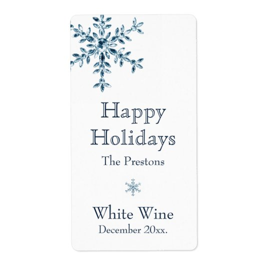 Holiday Glamour Wine Label (white) Shipping Label