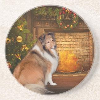 Holiday Grace Sheltie Coasters