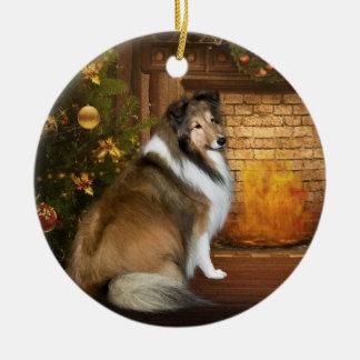 "Holiday ""Grace"" Sheltie Round Ceramic Ornament"