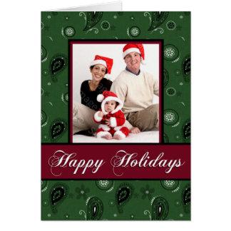 Holiday Green Paisley Photo Card