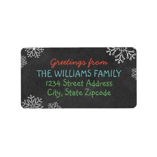 Holiday Greeting Address Labels | Black Chalkboard