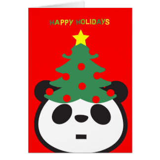 Holiday Greeting Card - Panda Tree