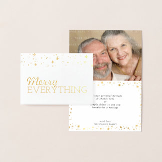 HOLIDAY GREETING family photo merry everything Foil Card