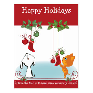Holiday Greeting Pets From Your Veterinary Clinic Postcard