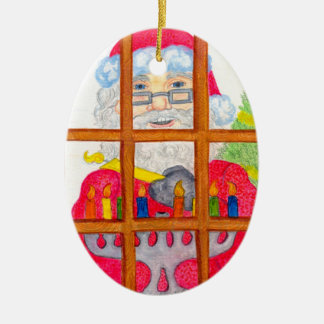 Holiday Greetings Ceramic Oval Ornament