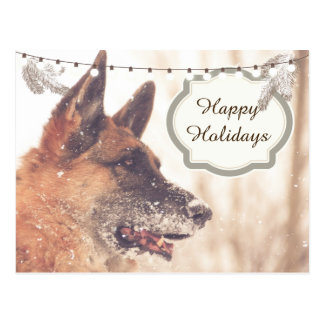 Holiday Greetings German Shepherd Postcard