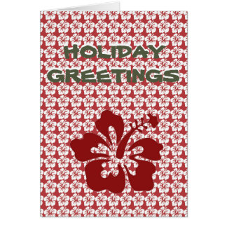 """Holiday Greetings"" Red Hibiscus Holiday card"